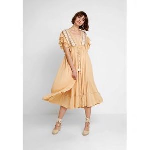 Free people midi flared boho dress new cotton